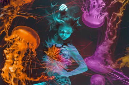 Dance, Woman, Under, Dance, Woman, Under the Sea, Jellyfishes, Underwater, HD, 2K, 4K