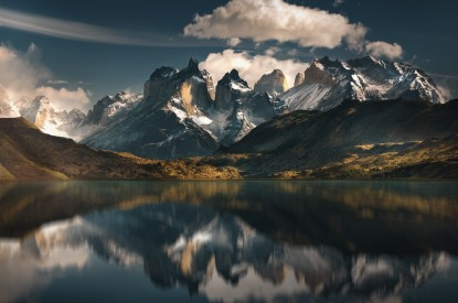 Mountains, Lake, Reflections, Landscape, Scenery, Torres, Mountains, Lake, Reflections, Landscape, Scenery, Torres del Paine National Park, Patagonia, Chile, HD, 2K