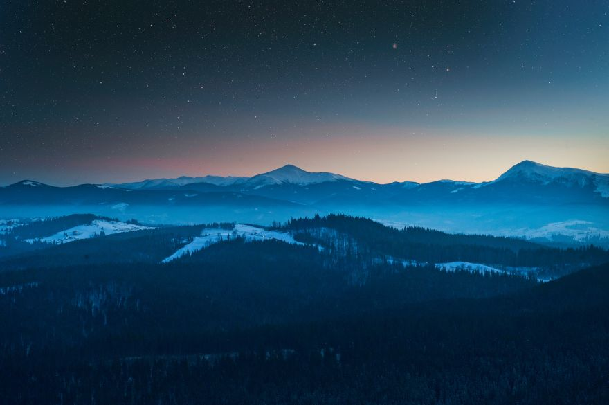 Mountains, Twilight, Foggy, Forest, Mountains, Twilight, Foggy, Forest, HD, 2K, 4K